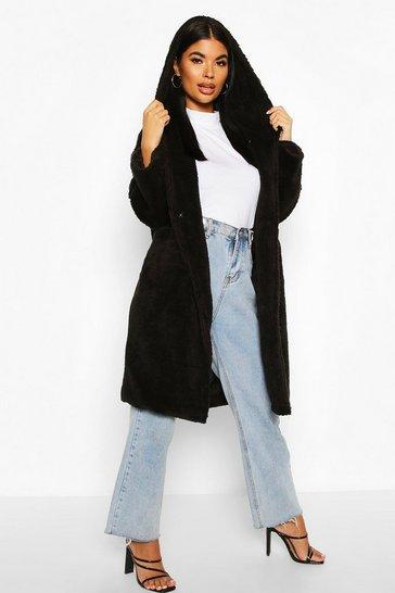 Black Petite Oversized Hooded Teddy Coat
