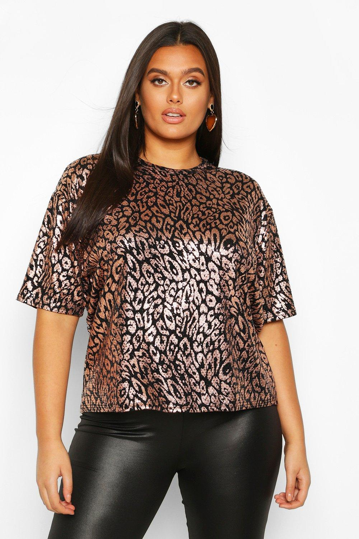 Womens Plus Metallic Leopard Sequin Oversized T-Shirt - rose gold - 42, Rose Gold - Boohoo.com