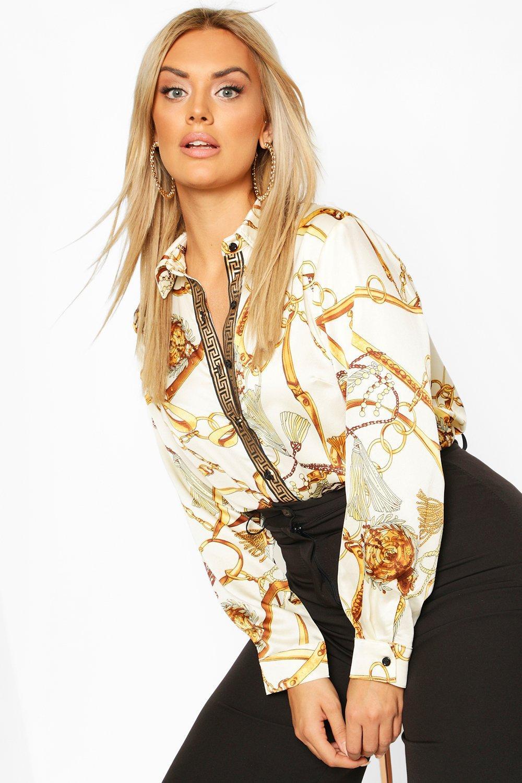 Womens Plus Chain Print Shirt - White - 44, White - Boohoo.com