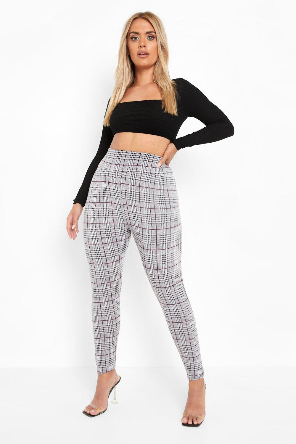 boohoo Womens Plus Checked Knitted High Waist Legging - Grey - 20, Grey