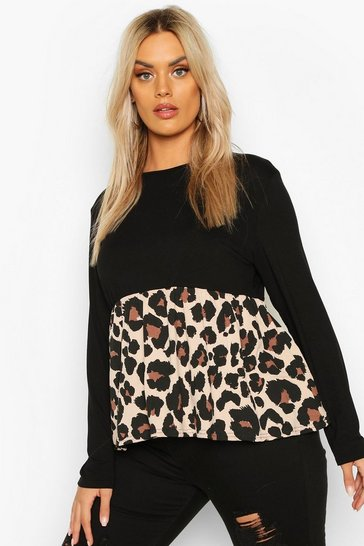 Black PLus Contrast Leopard Long Sleeve Smock Top