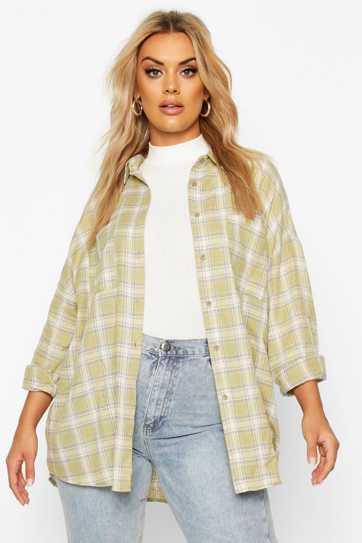 Womens Plus Check Oversized Shirt - sage - 48, Sage - Boohoo.com