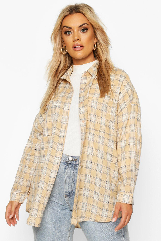 Womens Plus Check Oversized Shirt - stone - 42, Stone - Boohoo.com