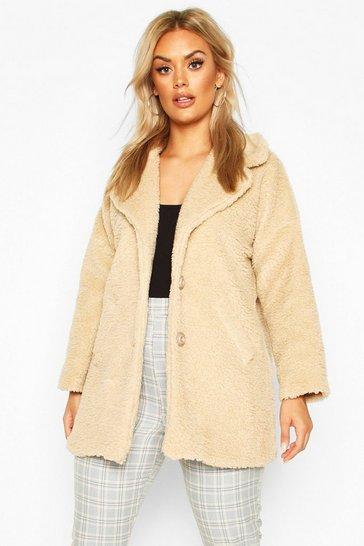 Stone Plus Faux Fur Teddy Coat