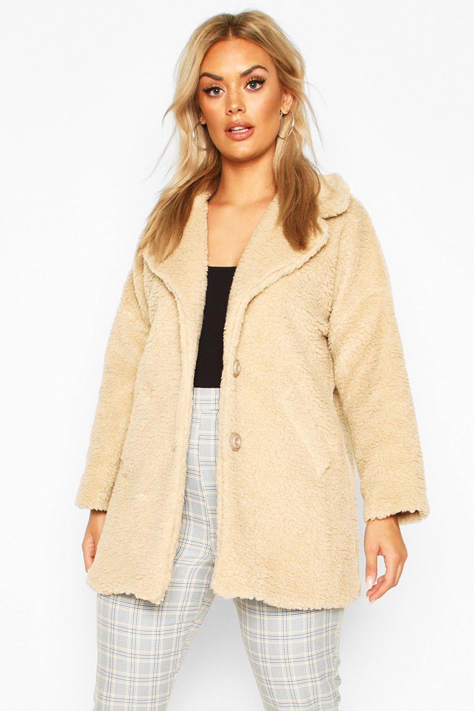 SALE Plus Faux Fur Teddy Coat