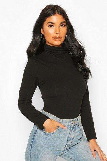 Black Petite Cotton Roll Neck Bodysuit