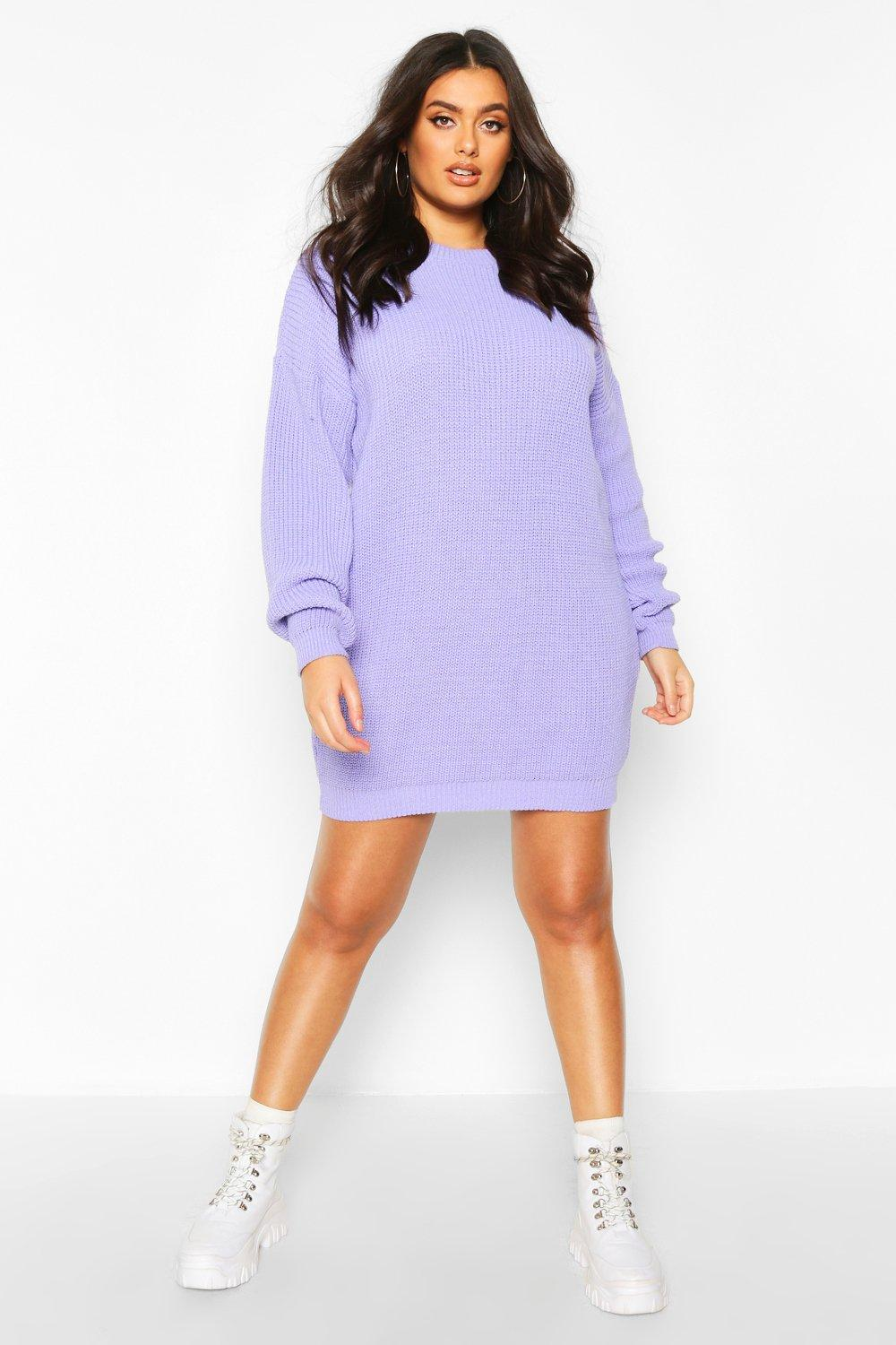 Womens Plus Crew Neck Jumper Dress - lilac - 42, Lilac - Boohoo.com