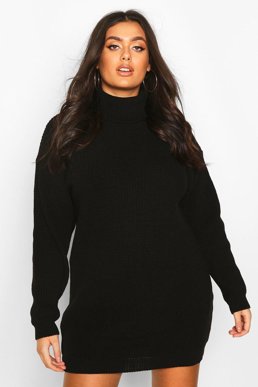 Womens Plus Roll Neck Jumper Dress - black - 42, Black - Boohoo.com
