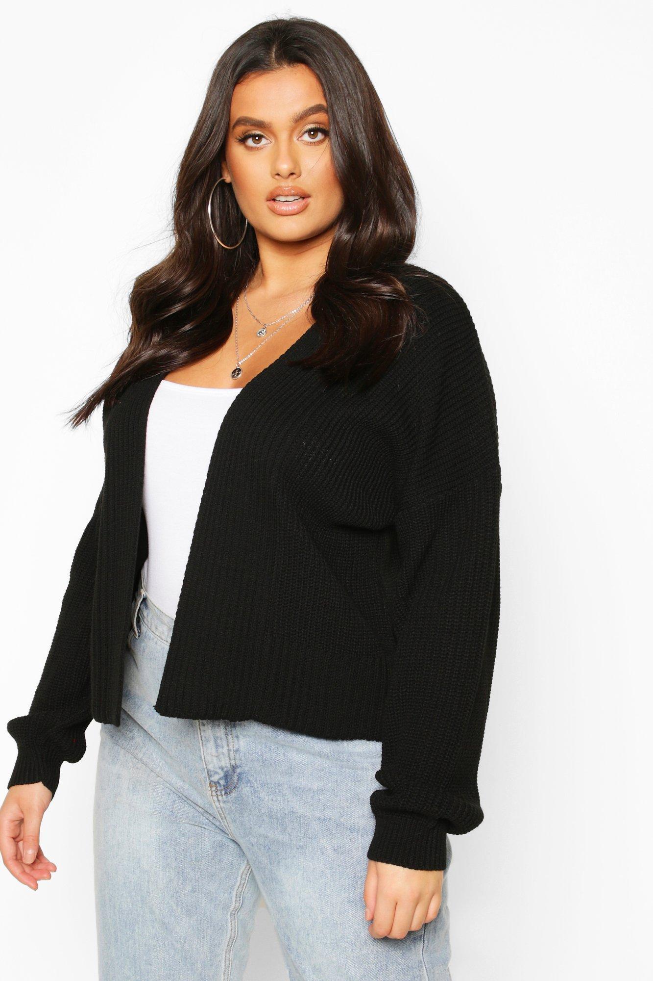 Womens Plus Cropped Cardigan - black - 42, Black - Boohoo.com