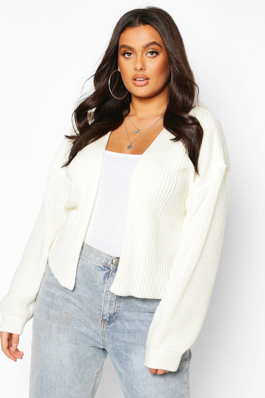 Womens Plus Cropped Cardigan - Cream - 42, Cream - Boohoo.com
