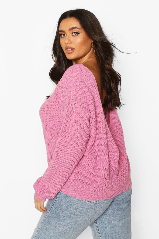 Womens Plus V-Back Oversized Jumper - pastel pink - 44-46, Pastel Pink - Boohoo.com