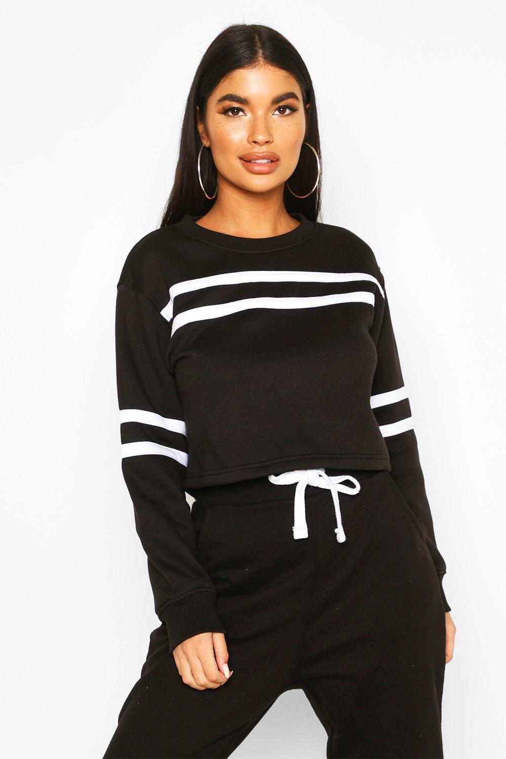 Womens Petite Double Sport Stripe Sweat Top - black - 30, Black - Boohoo.com
