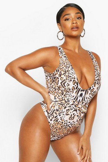 White Plus Leopard Belted Scoop Swimsuit