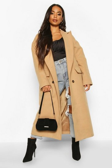 Camel Petite Wool Look Double Breasted Long Line Coat