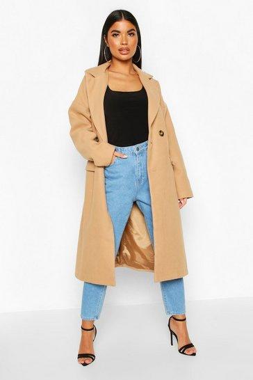 Camel Petite Pocket Detail Wool Look Coat