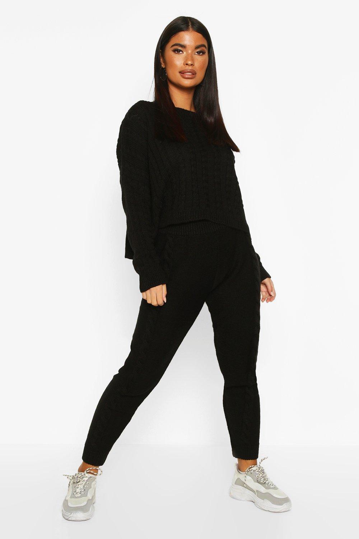 Womens Petite Cable Knit Jumper & Jogger Co-Ord - black - 30, Black - Boohoo.com