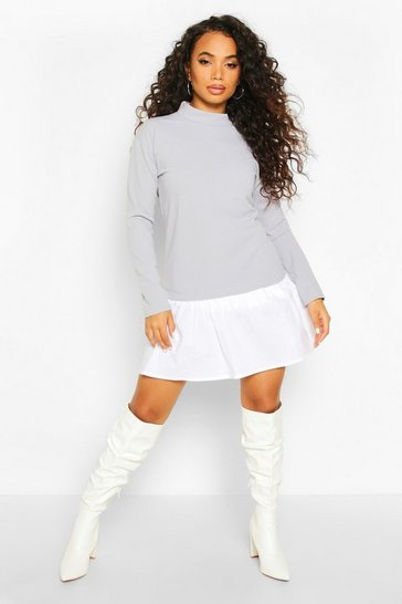 Grey marl Petite Double Layer Sweat & Shirt Dress