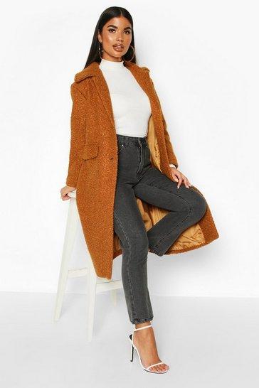 Camel Petite Teddy Faux Fur Oversized Coat