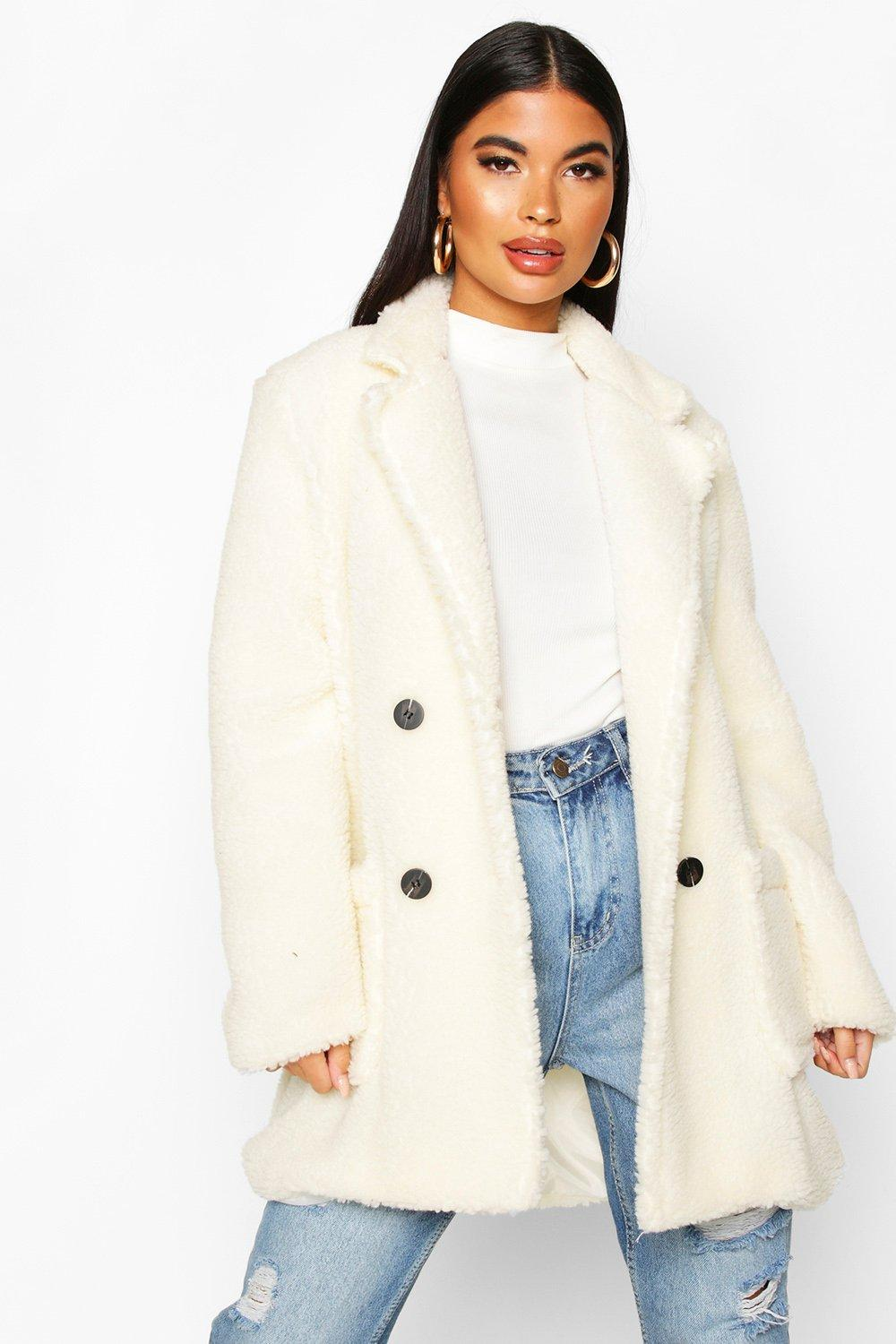 boohoo Womens Petite Double Breasted Teddy Coat - White - 10, White