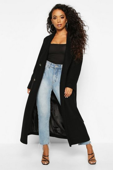 Black Petite Belted Double Breasted Wool Look Coat