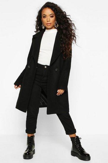 Black Petite Wool Look Pocket Detail Coat