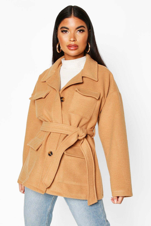 boohoo Womens Petite Wool Look Belted Utility Jacket - Beige - 4, Beige