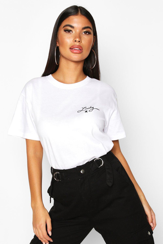 Womens Petite 'Lucky' Slogan T-Shirt - white - L, White - Boohoo.com