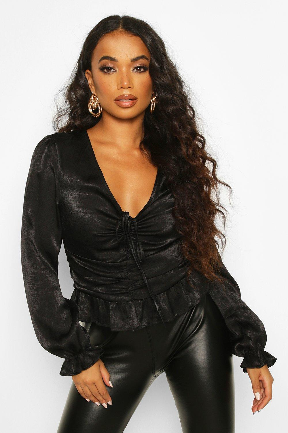 Womens Petite Hammered Satin Ruched Front Blouse - black - 30, Black - Boohoo.com
