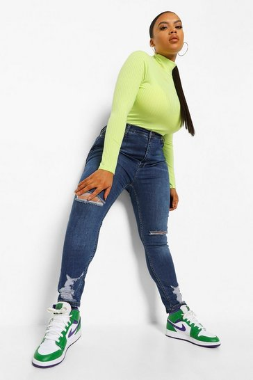 Dark blue Plus Stretch High Waist Ripped Skinny Jeans