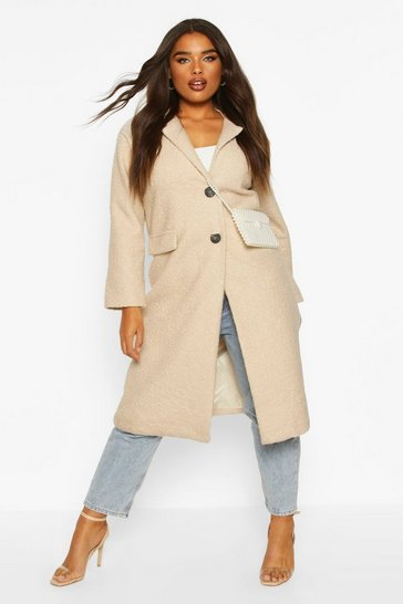 Cream Plus Longline Teddy Coat
