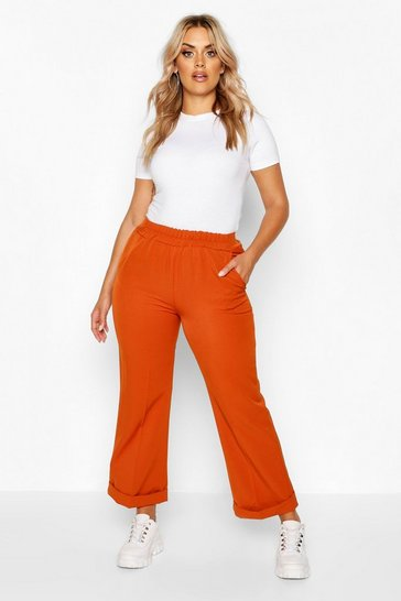 Rust Plus Tailored Turn Up Ankle Grazer Trouser