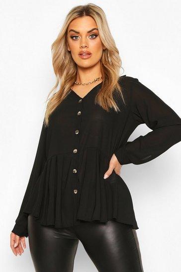 Black Plus Pleated Button Detail Peplum Shirt