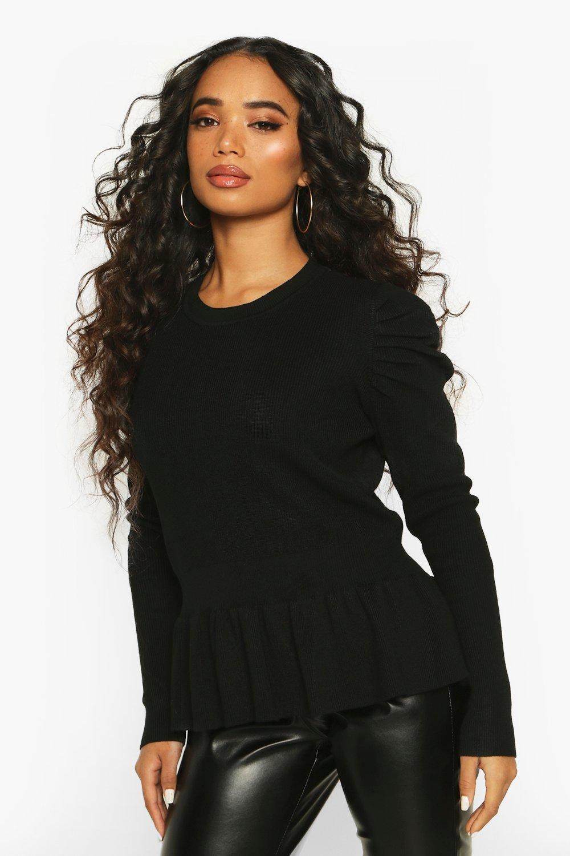 Womens Petite Schößchen-Pullover mit sehr weiten Ärmeln - schwarz - S, Schwarz - Boohoo.com