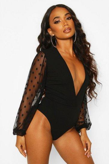 Black Petite Mesh Volume Sleeve Bodysuit