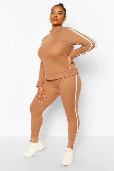 Camel Plus Soft Rib Stripe Top + Legging Lounge Set