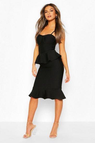Black Petite Peplum Fishtail Bandage Midi Dress
