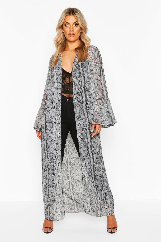boohoo Womens Plus Snake Print Frill Sleeve Kimono - Grey - 18, Grey