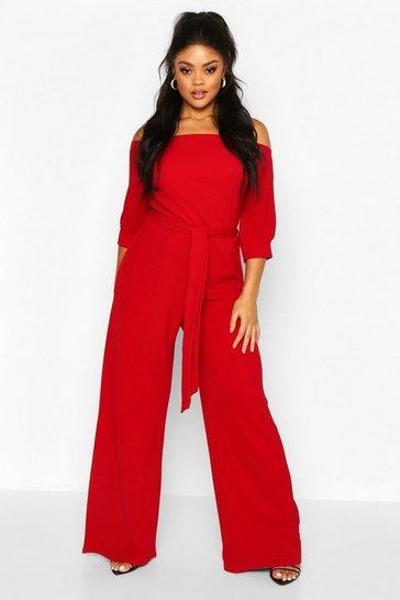 Red Plus Off Shoulder Tailored Self Belt Jumpsuit
