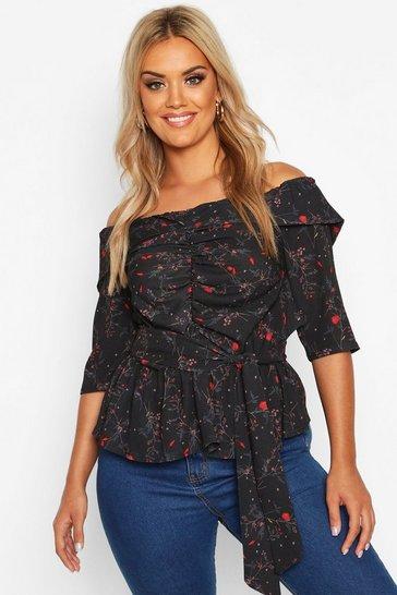 Black Plus Off The Shoulder Ruched Belted Floral Top