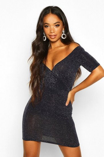 Navy Petite Glitter Off The Shoulder Wrap Bodycon Dress