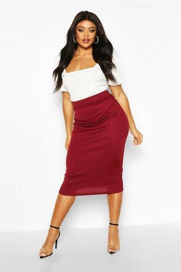 Plus Rib Knit Midi Skirt