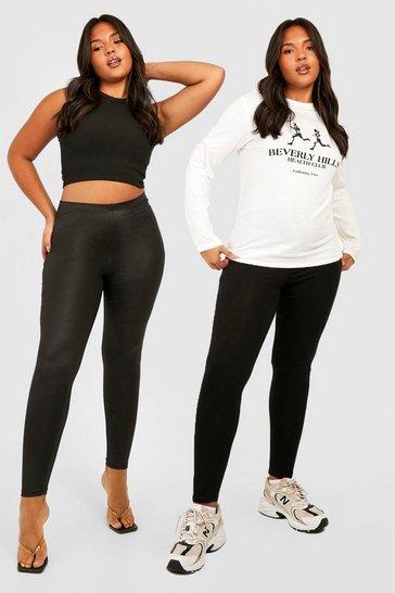 Black Plus 2 Pack PU Legging & Basic Legging