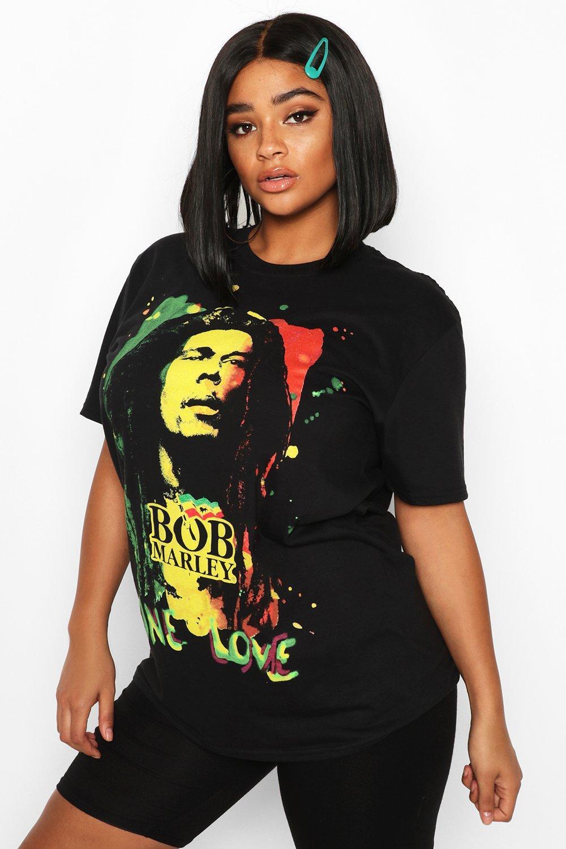 "Womens Plus Oversized T-Shirt mit lizenziertem ""Bob-Marley""-Print - schwarz - 44, Schwarz - Boohoo.com"