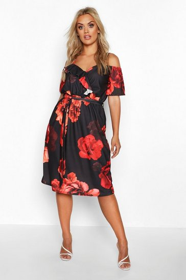 Black Plus Mono Floral Plunge Ruffle Midi Dress