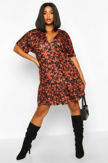 Terracotta Plus Floral Kimono Sleeve Smock Dress