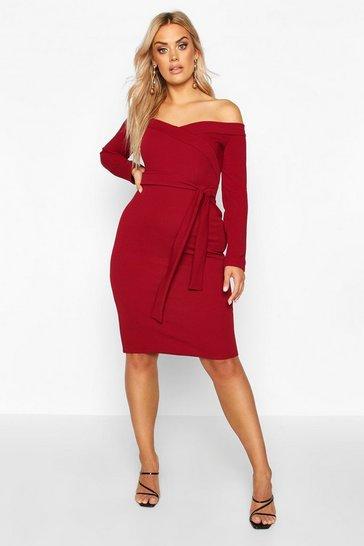 Wine Plus Bardot Wrap Tie Belt Midi Dress