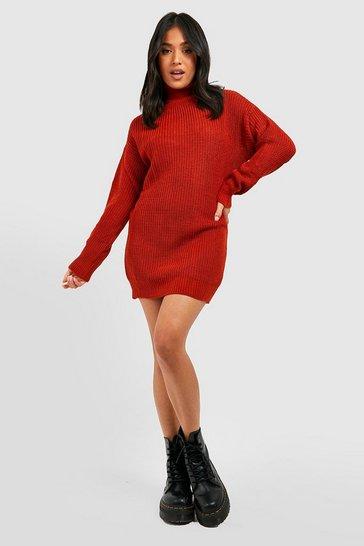 Toffee Petite Roll Neck Jumper Dress