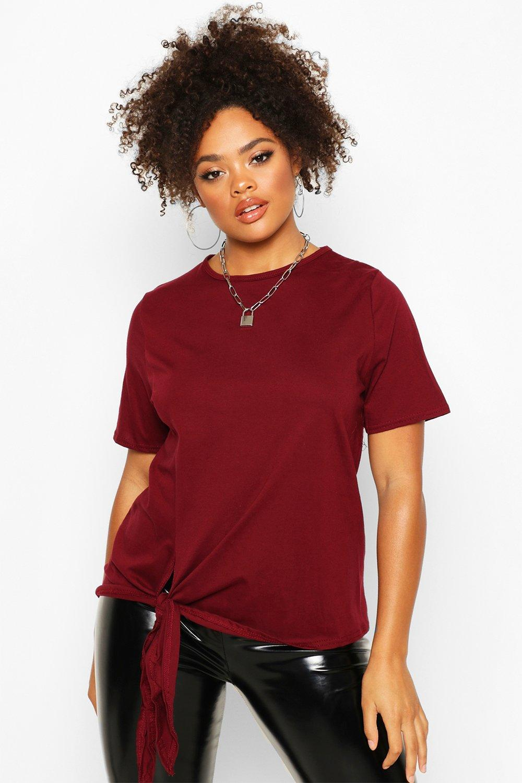 Womens Plus Oversized T-Shirt aus Baumwolle mit seitlicher Schnürung - beerenrot - 56, Beerenrot - Boohoo.com