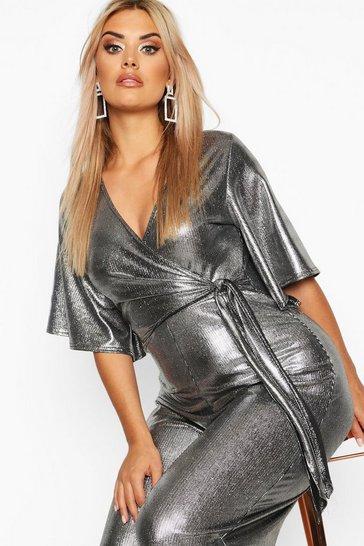 Silver Plus Metallic Wrap Angel Sleeve Belted Culotte Jumpsuit