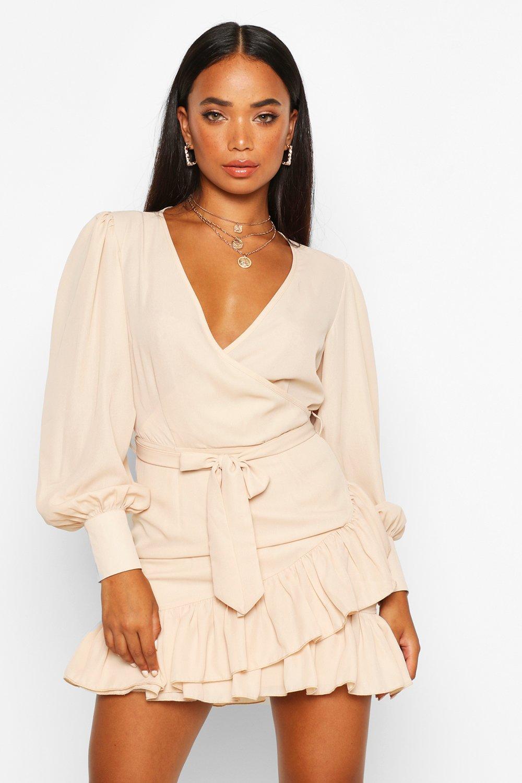 SALE Petite Frill Hem Belted Wrap Dress